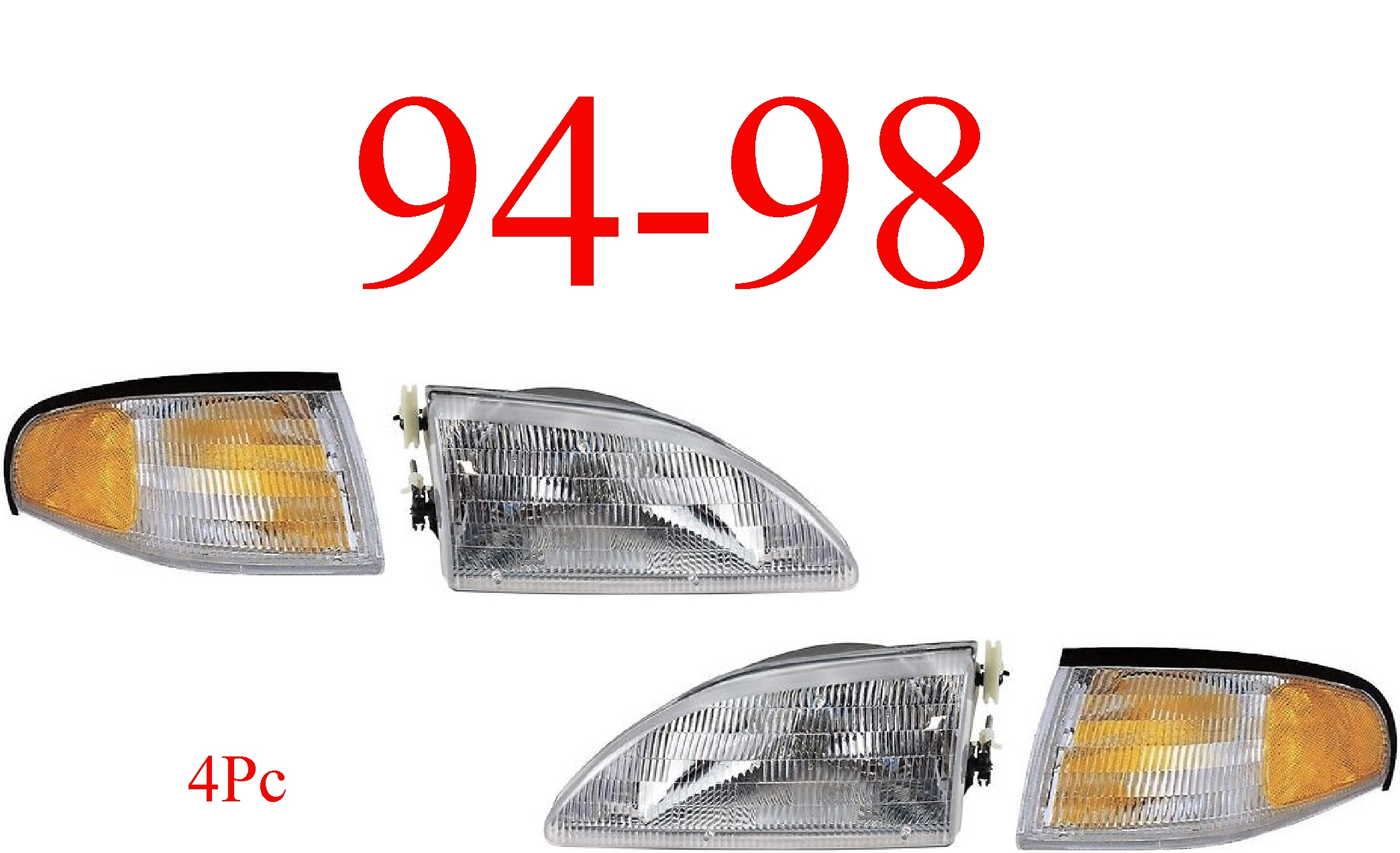 94-98 Mustang 4Pc Head Light & Park Light Kit